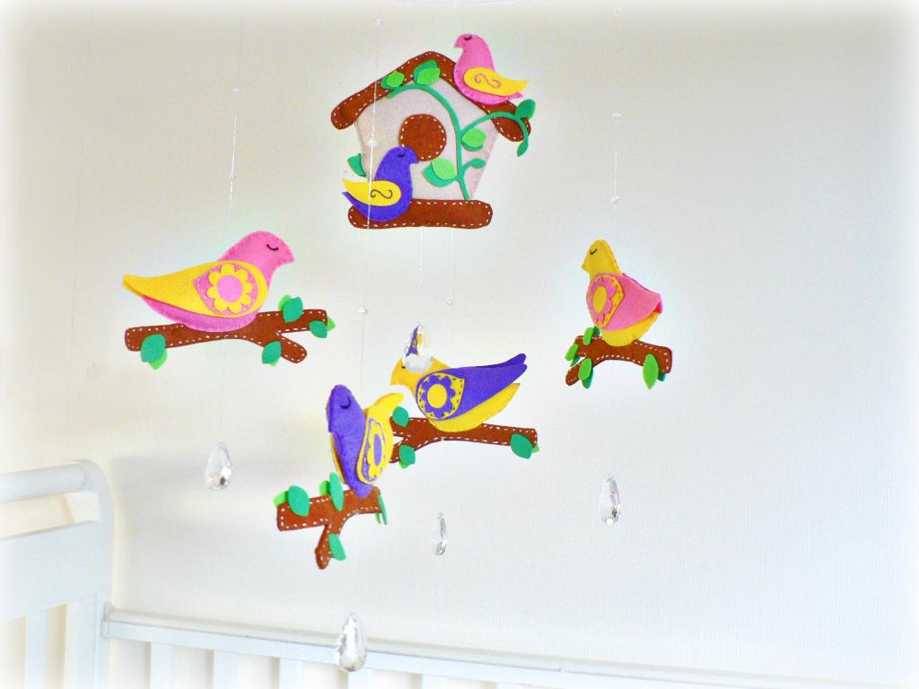 Baby Bird Mobile Nursery Mobile Chandelier Crystals Felt Birds - Yellow chandelier crystals